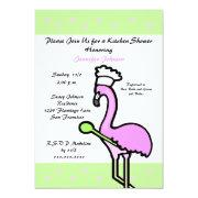 Flamingo Kitchen Bridal Shower Invitation Personalized Invites