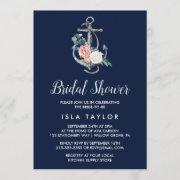 Floral Anchor | Navy Summer Bridal Shower Invitation