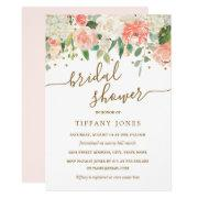Floral Blush Pink Gold Confetti Bridal Shower Invitations