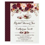 Floral Boho Bridal Shower Tea Party Invitations