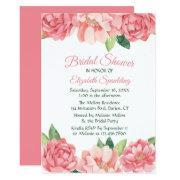Floral Bridal Shower Pink Roses Peonies Flowers Invitation