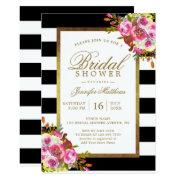 Floral Chic Gold Black White Stripes Bridal Shower
