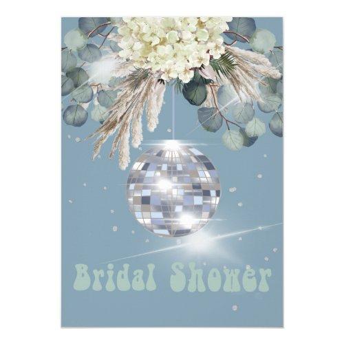 Floral Dusty Blue Disco Ball Bridal Shower Invitation