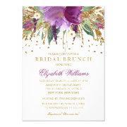 Floral Glitter Sparkling Amethyst Bridal Brunch Invitation