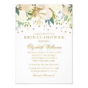Floral Glitter Sparkling Gold Bridal Shower