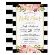 Floral Gold Black White Stripes Bridal Shower Invitation