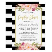Floral Gold Bw Stripes Wedding Couples Shower