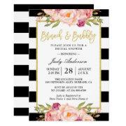 1dca3a352b27 Floral Gold Modern Brunch And Bubbly Bridal Shower Invitations