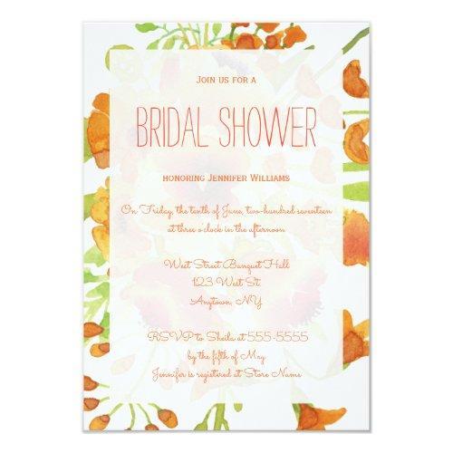 Floral Orange Bridal Shower Invitations