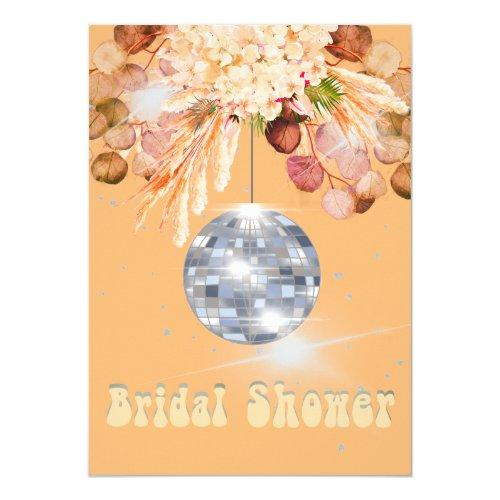 Floral Orange Disco Ball Bridal Shower Invitation