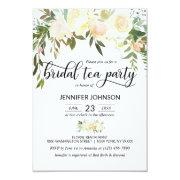 Floral Pink Ivory Cream Bridal Shower Tea Party Invitation