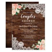 Floral Rustic Wood Lace Couples Wedding Shower