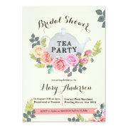 floral tea party bridal shower invitations