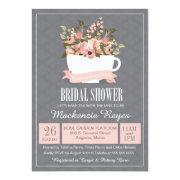 Floral Teacup Bridal Shower Invitation, Tea Party