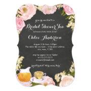 Floral Teacup Chalkboard Bridal Shower Invite