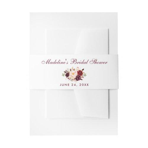 Floral Watercolor Burgundy Bridal Shower Invitation Belly Band