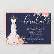 Floral Wedding Dress Navy Bridal Shower Invitation