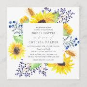 Flowerfields Square Bridal Shower Invitation