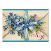 Forget Me Nots Monogram ,wedding Party Blue Metal Invitations