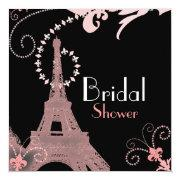 French Eiffel Tower Vintage Paris Bridal Shower Invitations