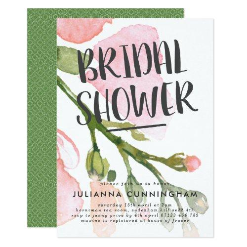 Fresh Watercolor Blooms Bridal Shower Invitations