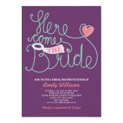 Fun Lettering Purple Pink Bridal Shower Invite Personalized Invites