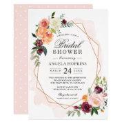 Geometric Blush Watercolor Floral Bridal Shower