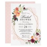 Geometric Blush Watercolor Floral Bridal Shower