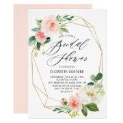 Geometric Gold Frame Pink Florals Bridal Shower Invitations