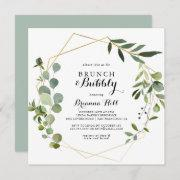 Geometric Tropical Brunch And Bubbly Bridal Shower Invitation