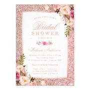 Girly Rose Gold Glitter Pink Floral Bridal Shower