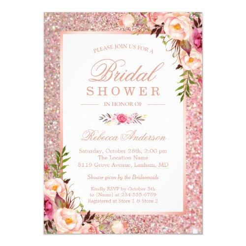 Girly Rose Gold Glitter Pink Floral Bridal Shower Invitations