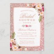 Girly Rose Gold Glitter Pink Floral Bridal Shower Invitation