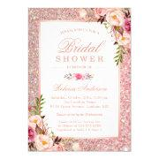 Girly Rose Gold Glitter Pink Floral Bridal Shower Invitation