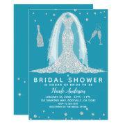 Glam Diamond Wedding Dress Teal Bridal Shower