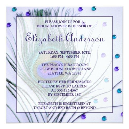 Glam Peacock Feather Purple Bridal Shower Invitations