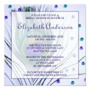 Glam Peacock Feather Purple Bridal Shower Invitation