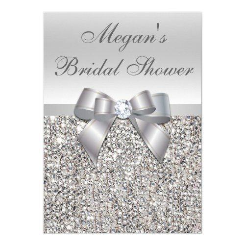 Glamorous Silver Sequins Bow Bridal Shower Invitations