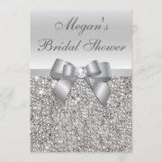 Glamorous Silver Sequins Bow Bridal Shower Invitation