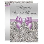 Glamorous Silver Sequins Lilac Bow Bridal Shower Invitation