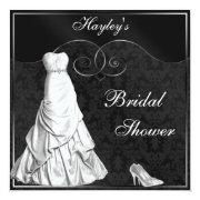 Glamorous White Gown Black Silver Bridal Shower Custom Invitation