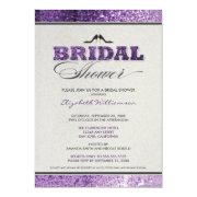 Glitter Bling Bridal Shower Invitation (purple)