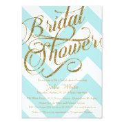 Glitter Bridal Shower Invitation, Tiffany Chevron