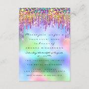 Glitter Drips Rose Bridal 16th Rainbow Holographic Invitation
