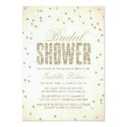 Glitter Look Confetti Bridal Shower Invitation
