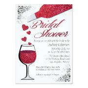 Glitter Wine Bridal Shower Invitations