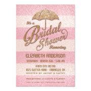 Glittering Pink Bold Stripes Bridal Shower Invite