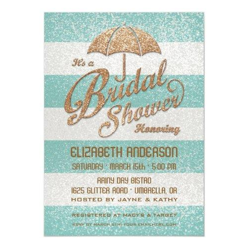 Glittering Teal Bold Stripes Bridal Shower Invite