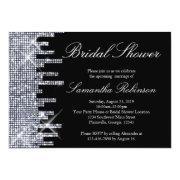 Glittery Black/silver Glamour Bridal Shower Invitation