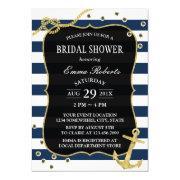 Gold Anchor Nautical Navy Stripes Bridal Shower